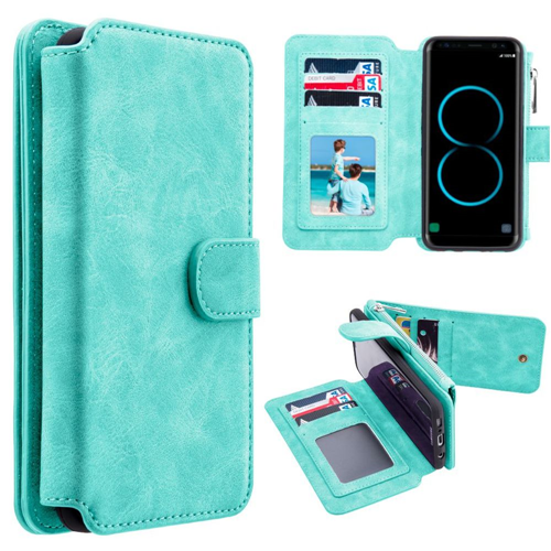 Insten Magnetic Flip Leather Fabric Case w/card holder For Samsung Galaxy S8 Plus, Teal