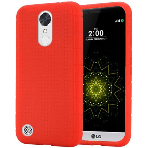 Insten Rugged Soft Rubber Case For LG Harmony/K10 (2017)/K20 Plus/K20 V, Red