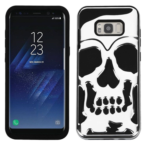 Insten Skullcap Hard Dual Layer Plastic TPU Case For Samsung Galaxy S8 Plus, Silver/Black