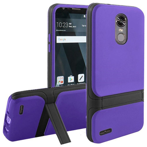 Insten Hard Dual Layer Plastic TPU Cover Case w/stand For LG Stylo 3/Stylo 3 Plus, Purple/Black