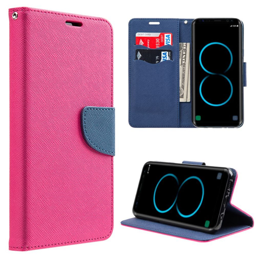 Insten Folio Leather Fabric Case w/stand/card holder For Samsung Galaxy S8, Hot Pink/Blue
