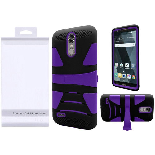 Insten Hard Dual Layer Plastic Silicone Case w/stand For LG Stylo 3/Stylo 3 Plus, Purple/Black