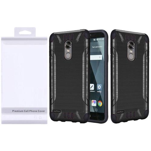 Insten Slim Armor Hard Dual Layer Brushed TPU Case For LG Stylo 3/Stylo 3 Plus, Black