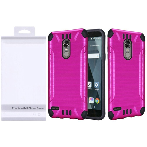 Insten Slim Armor Hard Dual Layer Brushed TPU Case For LG Stylo 3/Stylo 3 Plus, Hot Pink/Black