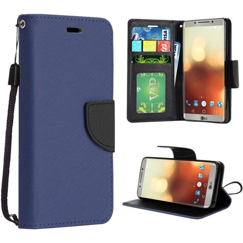 Insten Book-Style Leather Fabric Case Lanyard w/stand/card slot/Photo Display For LG G6, Dark Blue