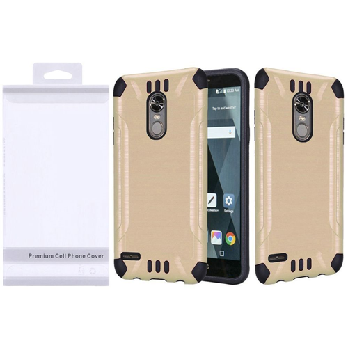 Insten Slim Armor Hard Dual Layer Brushed TPU Cover Case For LG Stylo 3/Stylo 3 Plus, Gold/Black