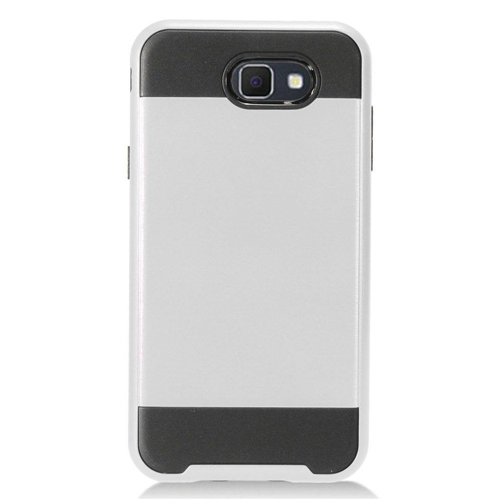 Insten Chrome Hybrid Hard Case For Samsung Galaxy J7 (2017)/J7 Prime/J7 Sky Pro, Silver/Black