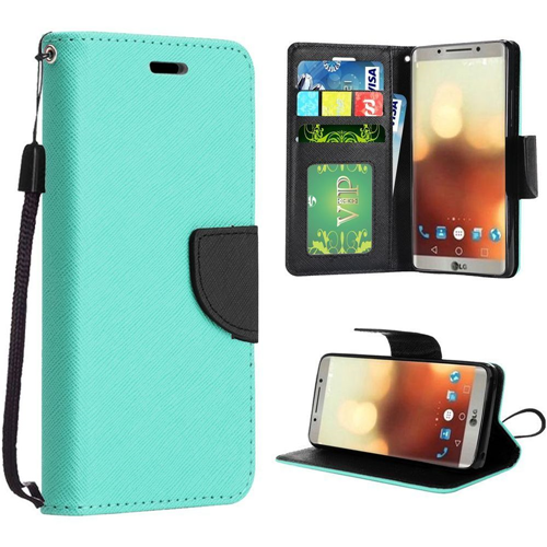 Insten Folio Leather Fabric Cover Case Lanyard w/stand/card slot/Photo Display For LG G6, Teal
