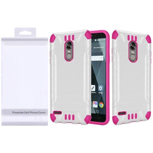 Insten Slim Armor Hard Hybrid Brushed TPU Cover Case For LG Stylo 3/Stylo 3 Plus, White/Hot Pink