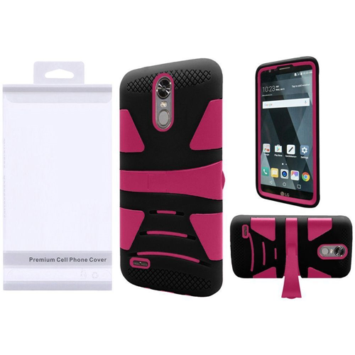 Insten Hard Hybrid Plastic Silicone Cover Case w/stand For LG Stylo 3/Stylo 3 Plus, Hot Pink/Black