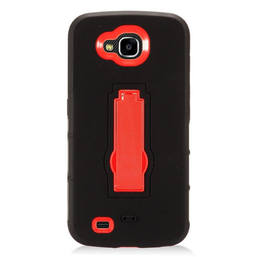 Insten Soft Dual Layer Rubber Hard Case w/stand For LG X Venture, Black/Red