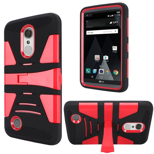 Insten Hard Dual Layer Plastic TPU Case w/stand For LG Grace 4G/Harmony/K20 Plus/K20 V, Red/Black
