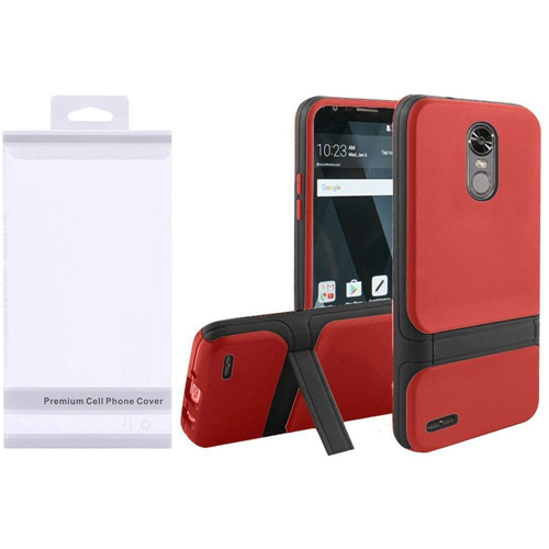 Insten Hard Dual Layer Plastic TPU Cover Case w/stand For LG Stylo 3/Stylo 3 Plus, Red/Black