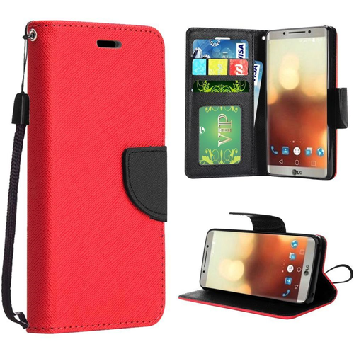 Insten Flip Leather Fabric Case Lanyard w/stand/card slot/Photo Display For LG G6, Red