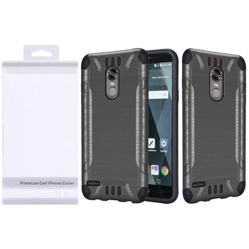 Insten Slim Armor Hard Hybrid Brushed TPU Cover Case For LG Stylo 3/Stylo 3 Plus, Gray/Black