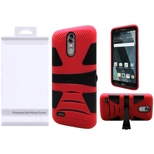 Insten Hard Dual Layer Plastic Silicone Cover Case w/stand For LG Stylo 3/Stylo 3 Plus, Black/Red