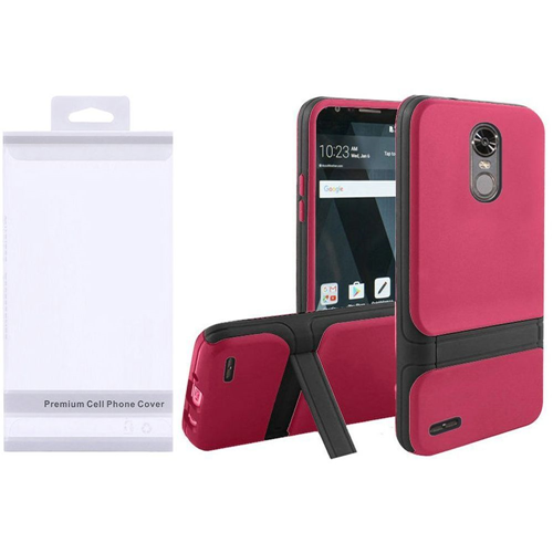 Insten Hard Hybrid Plastic TPU Cover Case w/stand For LG Stylo 3/Stylo 3 Plus, Hot Pink/Black