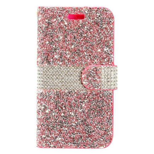 Insten Folio Leather Diamante Case w/card slot For Samsung Galaxy S8 Plus, Hot Pink/Silver