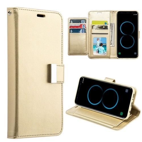 Insten Book-Style Leather Fabric Case w/stand/card slot/Photo Display For Samsung Galaxy S8, Gold