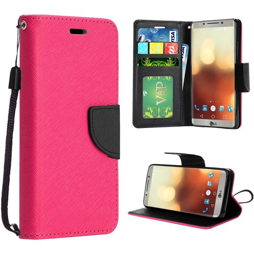 Insten Flip Leather Fabric Case w/stand/card slot/Photo Display For LG G6, Hot Pink