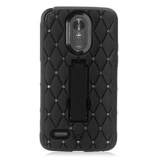 Insten Hard Rhinestone Silicone Cover Case w/stand For LG Stylo 3/Stylo 3 Plus, Black