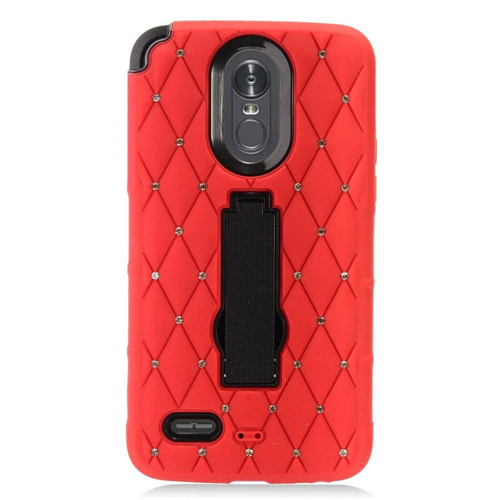 Insten Hard Diamond Silicone Cover Case w/stand For LG Stylo 3/Stylo 3 Plus, Red/Black