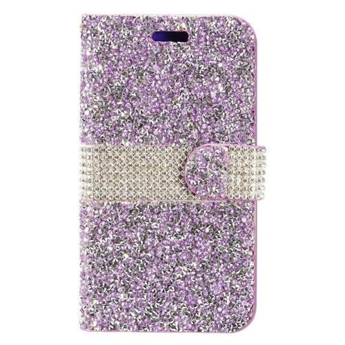 Insten Flip Leather Rhinestone Case For Samsung Galaxy J7 (2017)/J7 Prime/J7 Sky Pro, Purple/Silver