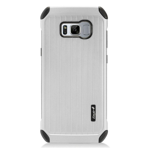 Insten Carry On Hard Hybrid Plastic Case For Samsung Galaxy S8 Plus, Silver/Black