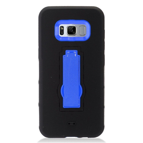 Insten Symbiosis Rubber Dual Layer Hard Case w/stand For Samsung Galaxy S8 Plus, Black/Blue