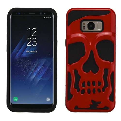 Insten Skullcap Hard Dual Layer Plastic TPU Cover Case For Samsung Galaxy S8, Red/Black
