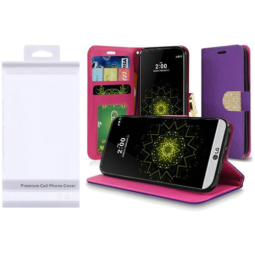 Insten Folio Leather Fabric Case w/stand/card holder For LG Grace 4G/Harmony/K20 Plus/K20 V, Purple