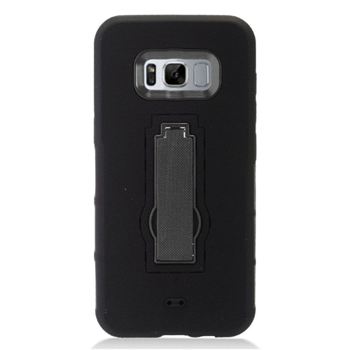 Insten Symbiosis Soft Dual Layer Rubber Hard Cover Case w/stand For Samsung Galaxy S8 Plus, Black