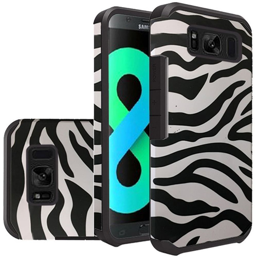 Insten Zebra Hard Dual Layer Plastic TPU Case For Samsung Galaxy S8 Plus, Black/White