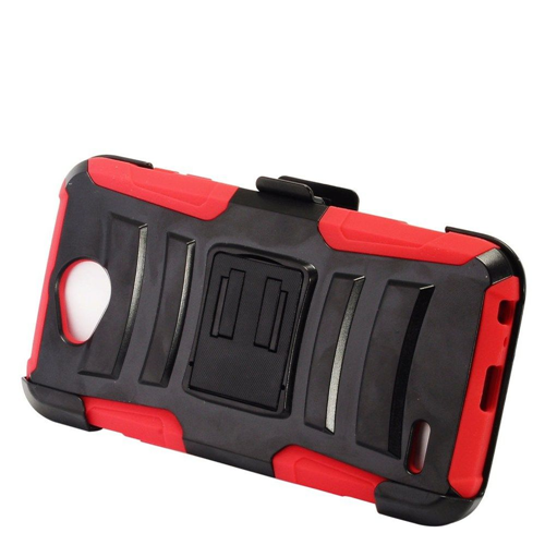 Insten Advanced Armor Hard Dual Layer Silicone Case w/stand/Holster For LG X Power 2, Black/Red