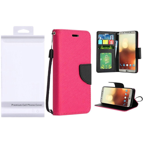 Insten Folio Leather Fabric Cover Case Lanyard w/stand/card holder/Photo Display For LG G6, Hot Pink