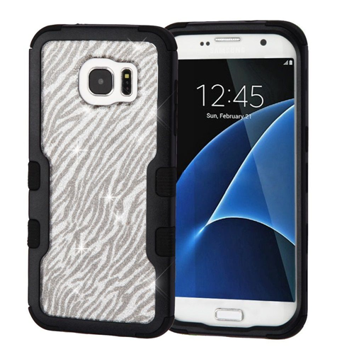 Insten Glitter Zebra Hard Dual Layer TPU Case For Samsung Galaxy S7 Edge, Silver/Black