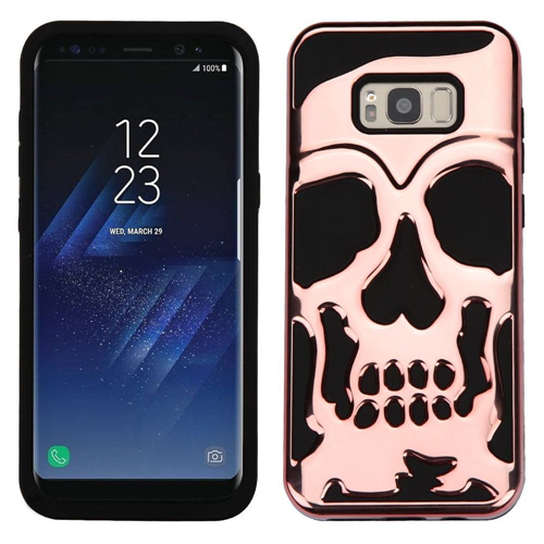 Insten Skullcap Hard Hybrid Plastic TPU Case For Samsung Galaxy S8, Rose Gold/Black