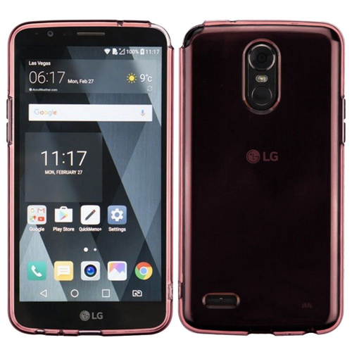 Insten TPU Rubber Clear Case For LG Stylo 3/Stylo 3 Plus, Rose Gold