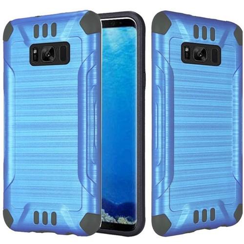 Insten Slim Armor Hard Hybrid Brushed TPU Case For Samsung Galaxy S8, Blue/Black