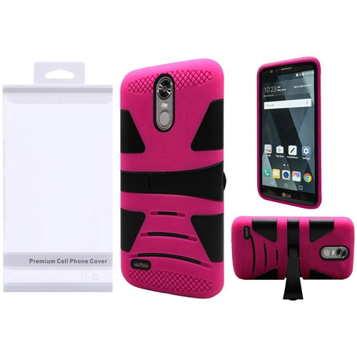 Insten Hard Hybrid Plastic Silicone Case w/stand For LG Stylo 3/Stylo 3 Plus, Black/Hot Pink