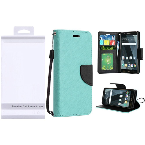 Insten Book-Style Leather Fabric Case Lanyard w/stand/card holder For LG Stylo 3/Stylo 3 Plus, Teal