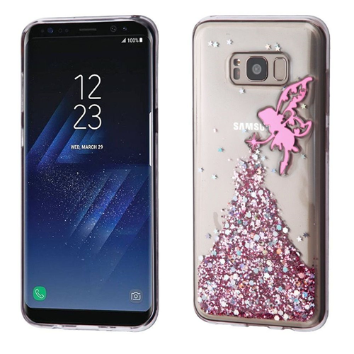 Insten Glitter Fairy TPU Rubber Case For Samsung Galaxy S8 Plus, Clear/Pink