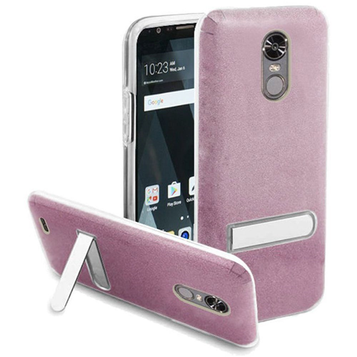 Insten Hard Plastic TPU Cover Case w/stand For LG Stylo 3/Stylo 3 Plus, Hot Pink/Clear