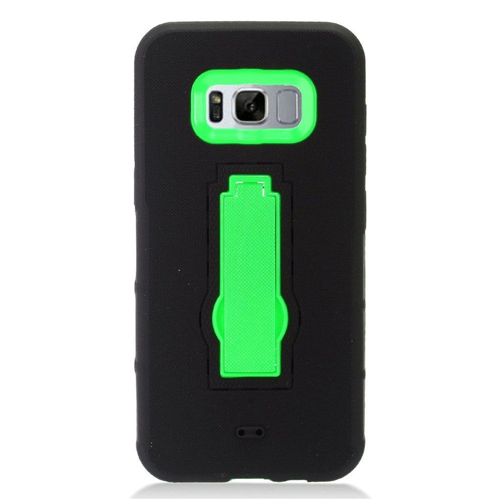 Insten Symbiosis Soft Hybrid Rubber Hard Cover Case w/stand For Samsung Galaxy S8 Plus, Black/Green