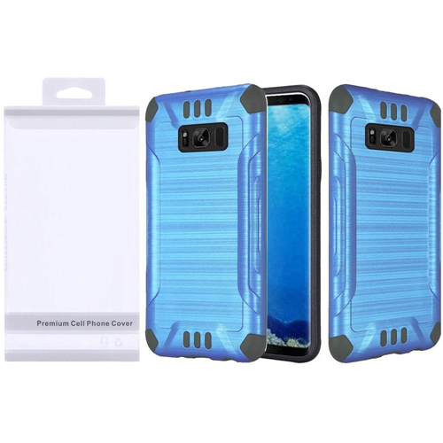 Insten Slim Armor Hard Hybrid Brushed TPU Case For Samsung Galaxy S8, Blue/Black