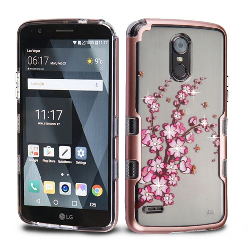 Insten Spring Flowers Hard Hybrid TPU Cover Case For LG Stylo 3/Stylo 3 Plus, Rose Gold/Clear