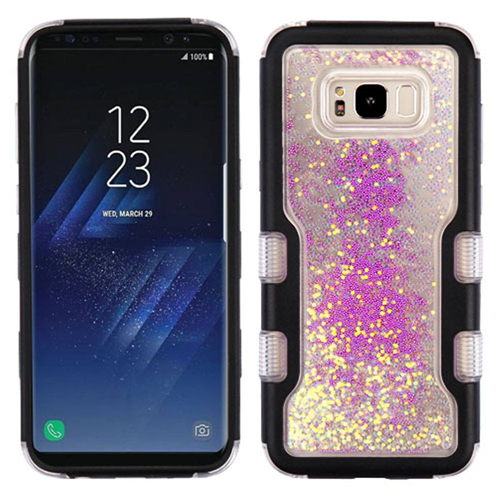 Insten Quicksand Glitter Beads Hard Hybrid TPU Cover Case For Samsung Galaxy S8, Black/Purple