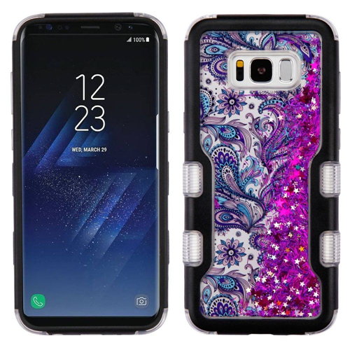 Insten Quicksand Glitter European Flowers Hard Hybrid TPU Case For Samsung Galaxy S8, Purple/Black