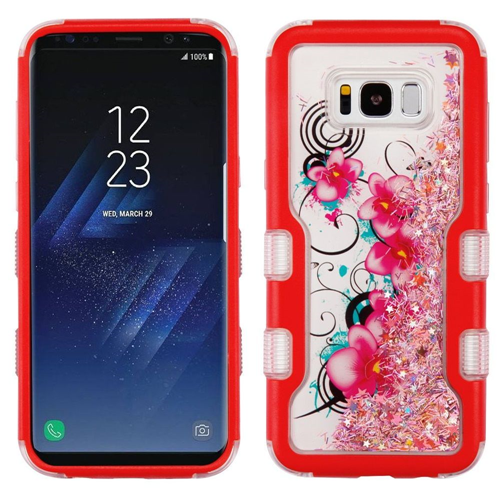 Insten Quicksand Glitter Morning Petunias Hard Dual Layer TPU Case For Samsung Galaxy S8, Red/Pink
