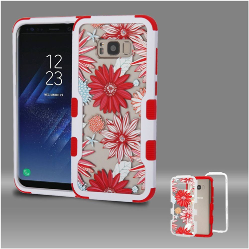 Insten Spring Daisies Hard Hybrid Plastic TPU Cover Case For Samsung Galaxy S8, Red/White